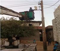 صيانة ٢٠ كشاف إنارة وإيقاف أعمال بناء بدون ترخيص بالمنيا