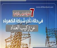 إنفوجراف| 7 خطوات تتبعها عند تأخر شركة الكهرباء في تركيب العداد