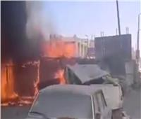 صور وفيديو.. حريق هائل داخل جراج بالمرج