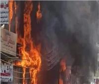 غلق الطريق أمام نقابة المعلمين بالمنيا بعد حريق في الواجهة