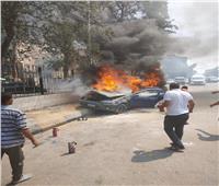 إخماد حريق نشب بسيارة في شارع الأهرام