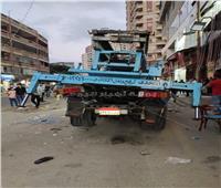 إصابة شخصين سقطت عليهما رافعة أثاث من الطابق الخامس بالإسكندرية | صور
