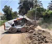 رفع الإشغالات والقمامة بقرية «صفط تراب» في المحلة