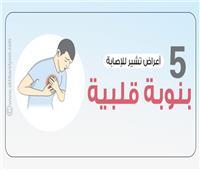 إنفوجراف| 5 أعراض تشير للإصابة بنوبة قلبية