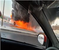 تفحم أتوبيس سياحي أمام سجن 15 مايو في حلوان |صور