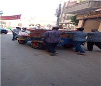 حملة لرفع الإشغالات ونظافة بسوق الباجور في المنوفية| صور