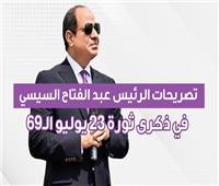 إنفوجراف| تصريحات الرئيس السيسي في ذكرى ثورة 23 يوليو الـ69
