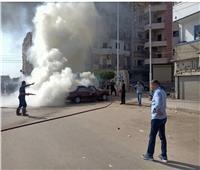 تفحم سياره ملاكى بماس كهربائي بالمحلة دون إصابات