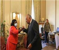 سامح شكري يلتقي وزيرة خارجيةجنوب السودان