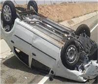 مصرع سيدة وإصابة 6 آخرين في حادث انقلاب سيارة ببني سويف