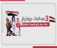 انفوجراف  3 ميداليات برونزية حصاد مصر في أولمبياد طوكيو