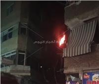 حريق هائل داخل عقار سكني بالوراق   صور