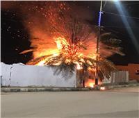 اندلاع حريق فى إحدى أشجار النخيل بجوار ستاد إدفو بأسوان