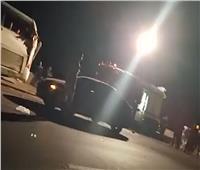 فيديو اللقطات الأولي لحادث أتوبيس رحلات بطريق القاهرة - السويس
