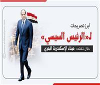إنفوجراف|أبرز تصريحات الرئيس السيسي خلال تفقده ميناء الإسكندرية البحري