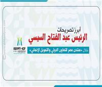 إنفوجراف| أبرز تصريحات الرئيس السيسي خلال «منتدى مصر للتعاون الدولي والتمويل الإنمائي»