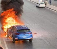 شاهد لحظة حريق سيارة ملاكي بأكتوبر  فيديو