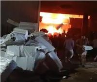 ننشر الصور الأولى لحريق مصنع ورق بقليوب