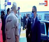 لحظة وصول الرئيس السيسي مقر افتتاح محطة مياه بحر البقر