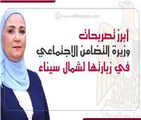 إنفوجراف | أبرز تصريحات وزيرة التضامن الاجتماعي في زيارتها لشمال سيناء