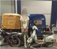سقوط لص الدراجات النارية بعين شمس