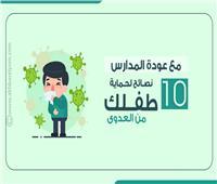إنفوجراف  مع عودة المدارس.. 10 نصـائح هامة لحـماية طفــلك من العدوى