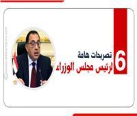 إنفوجراف| 6 تصريحات مهمة لرئيس مجلس الوزراء