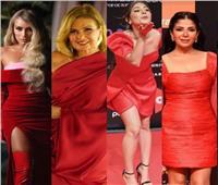 بالصور.. فنانات تتحدى «الريد كاربت» بفساتين حمراء