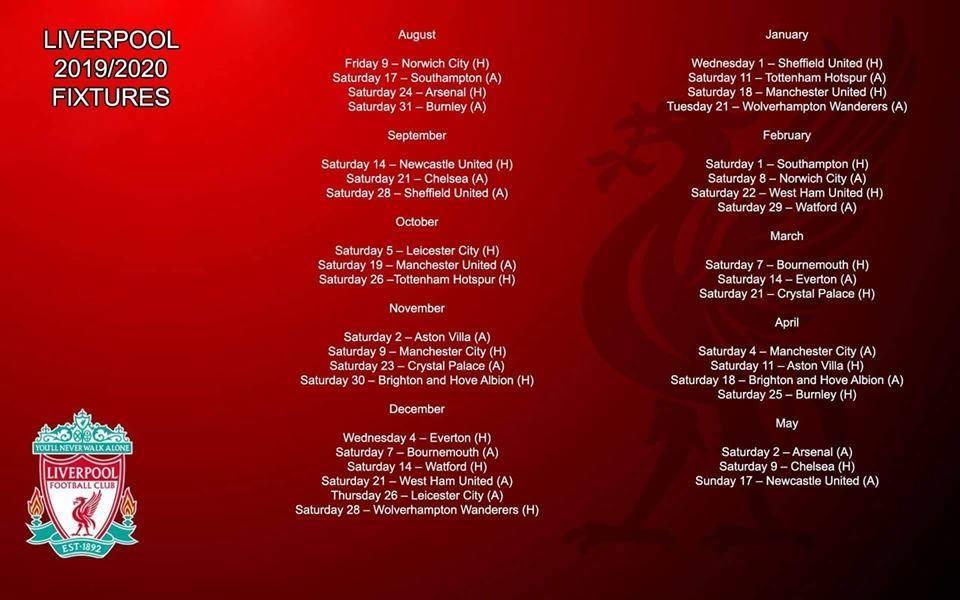 بقيادة محمد صلاح الجدول الكامل لـ ليفربول في الموسم الجديد