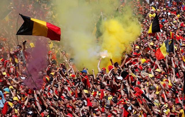 احتفال جمهور بلجيكا بالمركز الثالث بكأس العالم