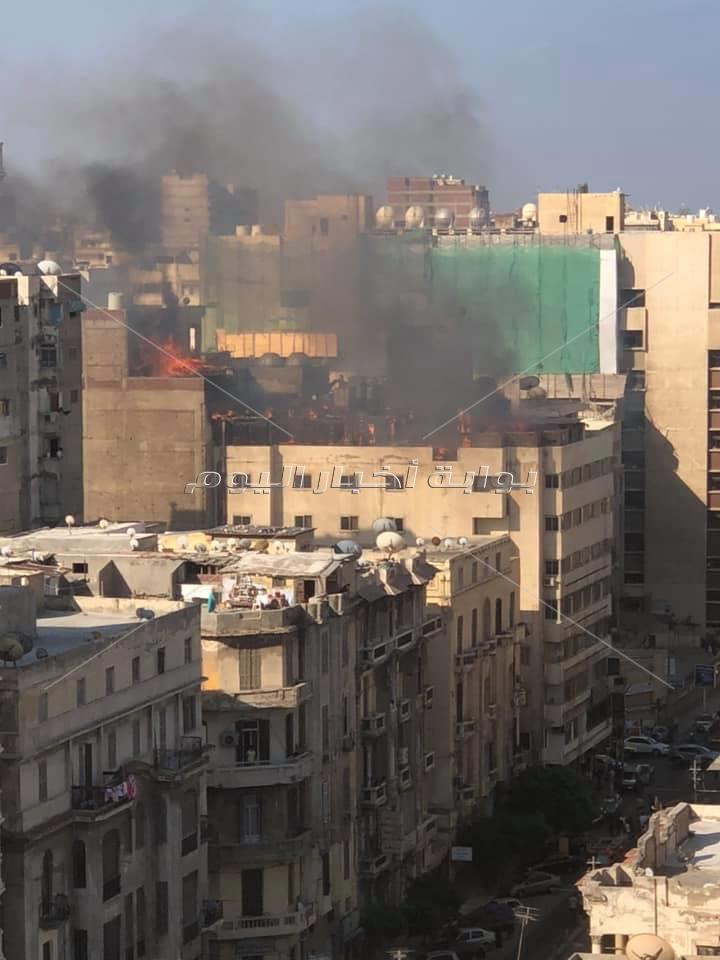 حريق هائل بفندق وسط الإسكندرية