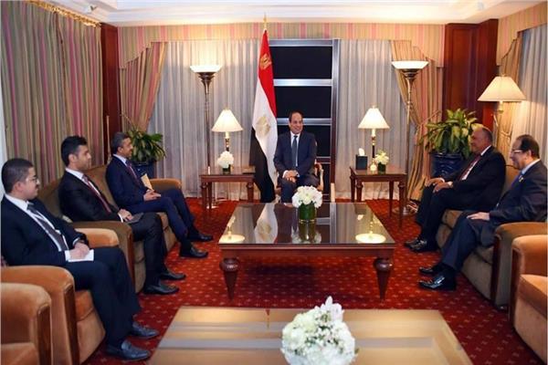 الرئيس السيسي خلال استقباله وزير خارجية الإمارات